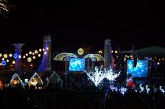 Varna-Stadtplatz neue Jahre feiernd Stockbild