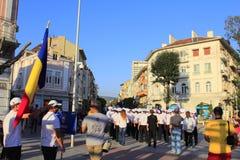 Varna street Crew Parade 2016 Bulgaria. The crew members the SCF Black Sea Tall Ships Regatta 2016 marching on Varna city main street  during the  Crew Parade Royalty Free Stock Image