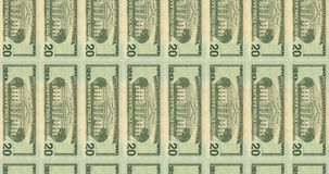 Computer generated video with transitions of American Banknotes of 20,50,100 dollars stock video footage