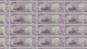 Software generated footage with transitions of American and North Korea Banknotes of 100 dollars and 1000 won stock video
