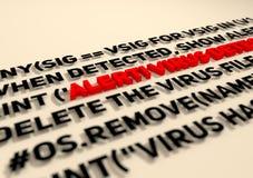 varnad Virusupptäcktstext i kod för datorabstrakt begreppskrift royaltyfria foton