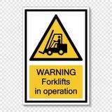 varnande gaffeltruckar för symbolsymbol i operationtecken på genomskinlig bakgrund royaltyfri illustrationer