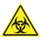 Varnande tecken för gul triangel med Biohazardsymbol stock illustrationer