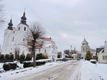 Varniai  church and priest seminary , Lithuania. Varniai town street, church  and  priest seminary in Telsiai region, Lithuania Royalty Free Stock Image