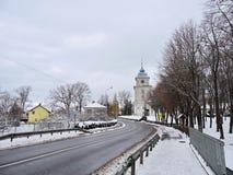 Varniai  street and priest seminary , Lithuania. View of Varniai town street and  priest seminary in Telsiai region, Lithuania Royalty Free Stock Image