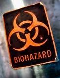 varning för biohazardfaraetikett Royaltyfri Foto