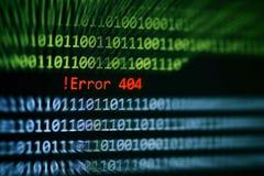 Varning för data för nummer för binär kod för teknologi! Meddelande för fel 404 på programvara för fel för problem för skärmskärm arkivbilder