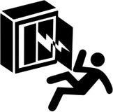 Varning för elektricitetschock, risk av döda Behörig person endast tecken för varningssymbol som isoleras på vit bakgrund Arkivfoto
