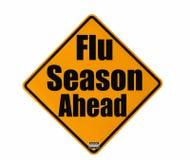 varning för influensasäsongtecken Arkivfoto