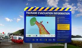 Varning för information om tsunamievakuering, Nya Zeeland Fotografering för Bildbyråer