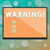 Varning för textteckenvisning Begreppsmässigt fotomeddelande eller händelse som varnar av något eller tjänar som som den rektangu arkivbild