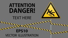 Varning - fara akta sig av halt Säkerhetstecken Det triangulära tecknet på en metallpol med varning sätter band Grå färgbakgrund  royaltyfri illustrationer