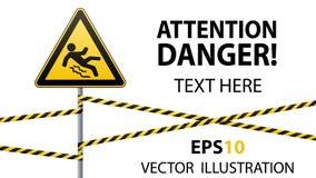Varning - fara akta sig av halt Säkerhetstecken Det triangulära tecknet på en metallpol med varning sätter band Vit bakgrund vekt stock illustrationer