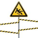 Varning - fara akta sig av halt Säkerhetstecken Det triangulära tecknet på en metallpol med varning sätter band Vit bakgrund vekt vektor illustrationer