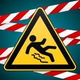 Varning - fara akta sig av halt Säkerhetstecken Varningstriangel och korsning varningsmusikband industriell design vektor royaltyfri illustrationer