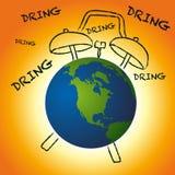 Varning på det akuta behovet att agera på klimatet för att spara mänsklighet royaltyfri illustrationer