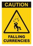 Varningen som faller valutor, anmärker det isolerade begreppet för varningstecknet, svartdropptriangel över guling, den stora mak Royaltyfri Fotografi