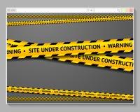 Varningsband i webbläsaren med ord - plats under Arkivfoto