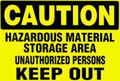 varningshazardoudmaterial undertecknar varning Arkivfoton