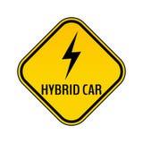 Varningsklistermärke för hybrid- bil Tecken för varning för räddningenergibil Blixtsymbol i guling- och svartromb stock illustrationer