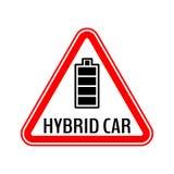 Varningsklistermärke för hybrid- bil Tecken för varning för räddningenergibil Fullständigt laddad batterisymbol i röd triangel stock illustrationer