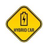 Varningsklistermärke för hybrid- bil Tecken för varning för räddningenergibil Laddande batterikontursymbol i gul romb stock illustrationer