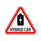 Varningsklistermärke för hybrid- bil Tecken för varning för räddningenergibil Laddande batterisymbol i röd triangel till medelexp vektor illustrationer