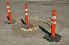 Varningskottar runt om sanitärt avkloppreparationsprojekt Royaltyfri Fotografi