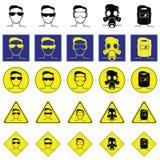 Varningstecken av huvudet med exponeringsglas för ögonskydd Arkivfoto