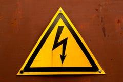 Varningstecken för elektrisk chock Fotografering för Bildbyråer