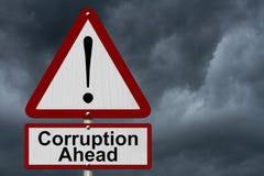Varningstecken för korruption framåt arkivbilder