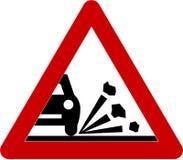 Varningstecken med grus på vägen vektor illustrationer