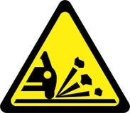 Varningstecken med grus på vägen stock illustrationer