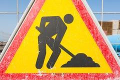 Varningstecken på en konstruktionsplats Royaltyfri Fotografi