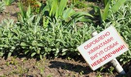 Varningstecken på gräsmatta Arkivfoto