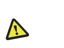 Varningstecken på vit bakgrund Arkivbilder