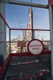 Varningstecknet om att bära ut farlig gas och brand arbetar Royaltyfria Foton