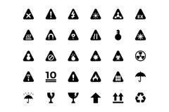 Varningsvektorsymboler royaltyfri illustrationer