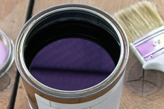 Varnish can and paint brush Royalty Free Stock Image
