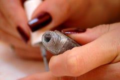 Varnish to nails. Depicting nails Royalty Free Stock Photo