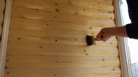 Varnish wood coating the walls of the balcony.  stock video footage