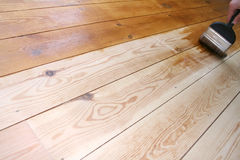 Varnished Floor 3. DIY shot of someone varnishing a wooden floor stock images