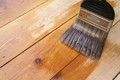 Varnished Floor 4. Varnish brush strokes on a wooden floor royalty free stock photo