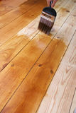 Varnished Floor. DIY shot of someone varnishing a wooden floor royalty free stock images