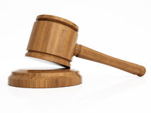 Varnished wooden gavel isolated Royalty Free Stock Images
