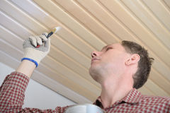 Varnishing a wooden ceiling. Contractor varnishing wooden panels on a ceiling royalty free stock image