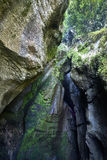 Varone瀑布加尔达湖, Varone, Trentin峡谷的看法  图库摄影