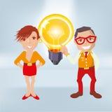 Varones con una bombilla grande y las porciones de buenas ideas libre illustration