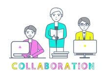Varones de la colaboración que trabajan con vector de los ordenadores portátiles libre illustration