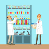Varones de los químicos que prueban los elementos químicos, interior del laboratorio de ciencia, ejemplo del vector stock de ilustración